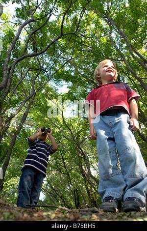 Quatre et six ans frères sur un sentier en forêt, Winnipeg, Canada Banque D'Images