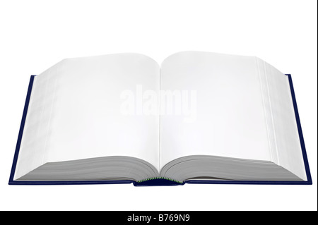 Un livre ouvert avec des pages vierges isolé sur fond blanc Banque D'Images