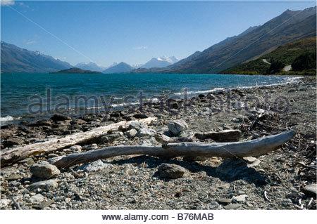 Lac Wakatipu, près de Glenorchy, Île du Sud, Nouvelle-Zélande. Cette image a été mise à jour - voir 2CC6Y0 Banque D'Images