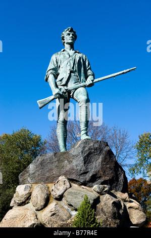 Minute Man Sculpture Battle Green Lexington MA. L'emplacement de l'premiers coups de la révolution américaine