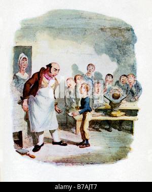 Oliver Twist Oliver demandant plus d'une illustration originale de George Cruikshank pour le roman de Charles Dickens Banque D'Images