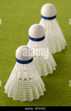 Trois Badminton Birdies Banque D'Images