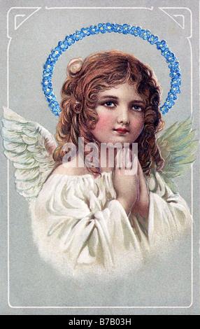 Cute girl vintage ange gardien avec valentine angel girl fleurs anniversaire Banque D'Images
