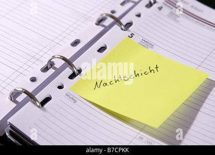 Carnet de rendez-vous 'Nachtschicht'; 'night shift', Allemagne