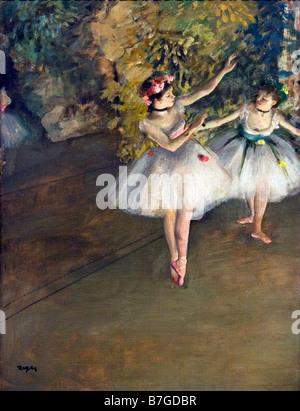Deux danseurs sur scène peinte par Edgar Degas 1874 Courtauld Institute Galleries London England UK Royaume-Uni GB Grande Bretagne