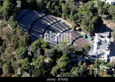 Vue de dessus de l'antenne de droit Hollywood Bowl concert Park Los Angeles USA Banque D'Images