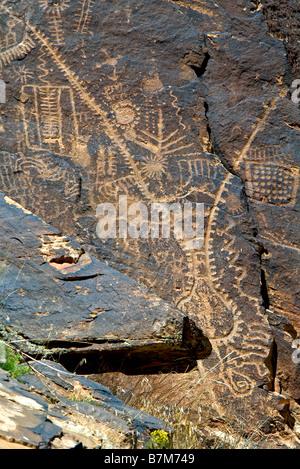 USA, Utah, Parowan Gap, des pétroglyphes, des œuvres de la préhistoire et du Sud cultures Paiute Fremont