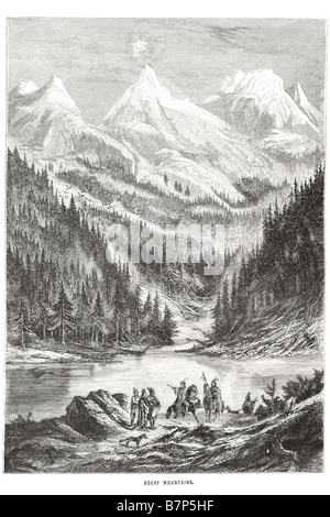 Mountians rocheux Rockies indiens Amérique du Nord occidentale British Columbia Lake Forest wood woods snow dogs Banque D'Images