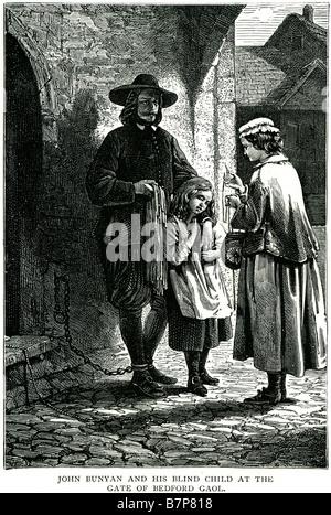 John Bunyan bedford porte son enfant aveugle prison Pilgrim's Progress English Christian street prisonnier enchaîné enfant mère man