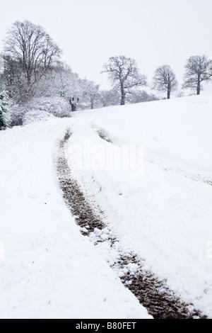 Les chenilles du tracteur dans la neige. Banque D'Images