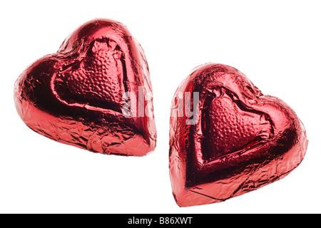 Bonbons Coeur Saint-valentin isolé sur fond blanc Banque D'Images