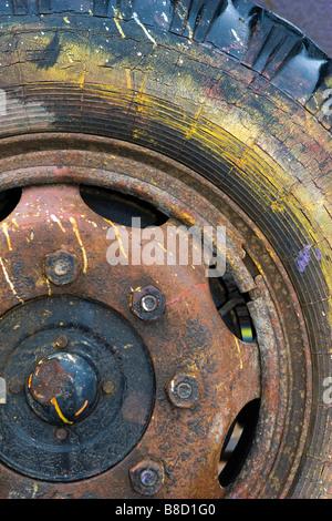 Closeup of old painters chariot de roue et pneu. Banque D'Images