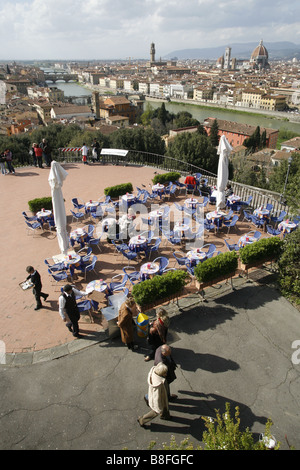 Café, Piazzale Michelangelo, Florence, Toscane, Italie Banque D'Images
