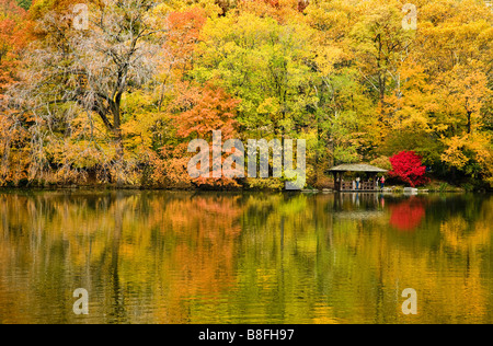 Couleurs d'automne se reflètent dans le lac de Central Park, à New York, USA. Banque D'Images