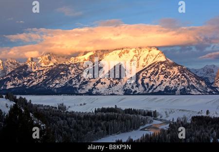 Grand Tetons à la première lumière, Wyoming, USA