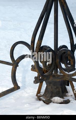 Portillon spinning forgé détail de base. Banque D'Images
