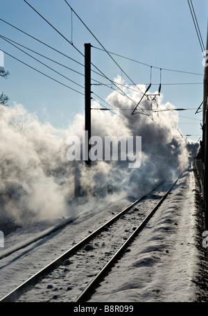 East Coast Mainline, UK Vue d'un train à vapeur transporté à la vitesse par 'Tornado' le dernier -locomotive à vapeur Banque D'Images