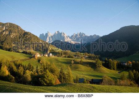 Funes valley, Santa Maddalena, Trentin-Haut-Adige, Italie Banque D'Images