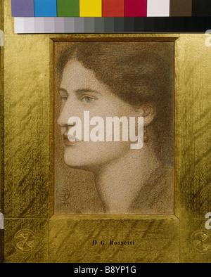 Une femme S HEAD par Dante Gabriel Rossetti 1828821867 craies de couleur dans la salle de dessin Standen Banque D'Images