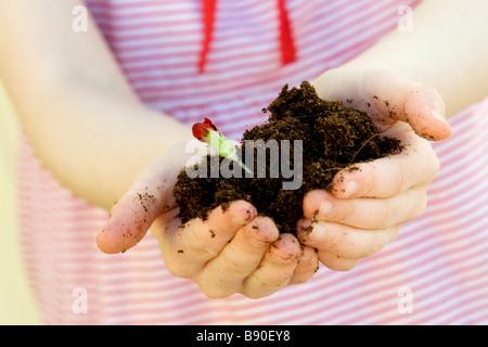 A girl holding a plant close-up de la Suède. Banque D'Images