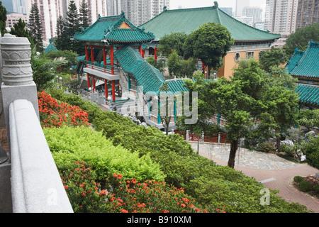 Tiens bon, les jardins de Sik Sik Yuen Wong Tai Sin Temple, Kowloon, Hong Kong Banque D'Images