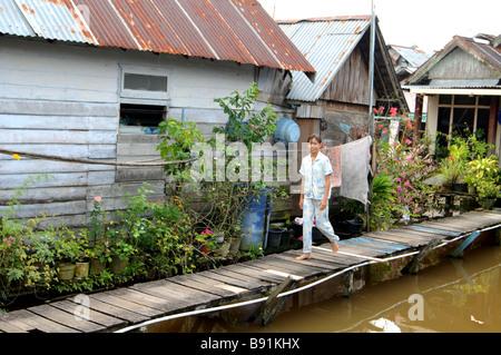 Kampung dalam bugis, Pontianak, Kalimantan, Indonésie Banque D'Images