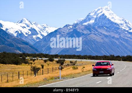 Route de l'Aoraki Mount Cook Nouvelle Zélande Banque D'Images