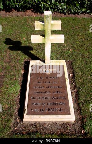 Un mémorial français dans le cimetière militaire de Brookwood, Woking. Banque D'Images