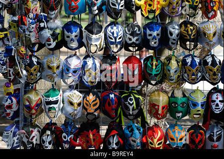 """Masques pour """"Lucha Libre"""", en vente, catch mexicain à Mexico Banque D'Images"""