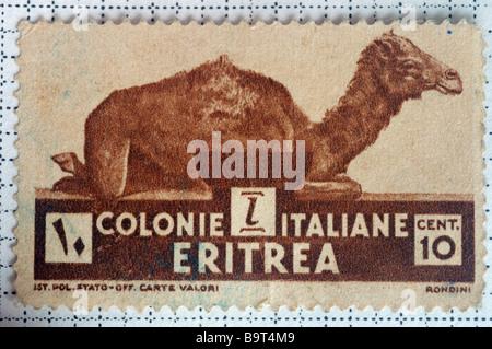 Un vieux stamp à partir de la colonie italienne de l'Érythrée