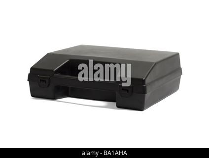 Boîtier en plastique noir sur fond blanc Banque D'Images