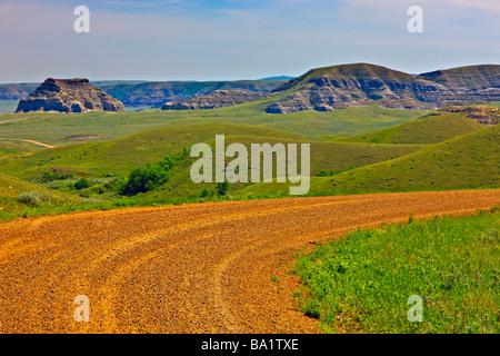 Castle Butte dans les Big Muddy Badlands du sud de la Saskatchewan, Canada Banque D'Images