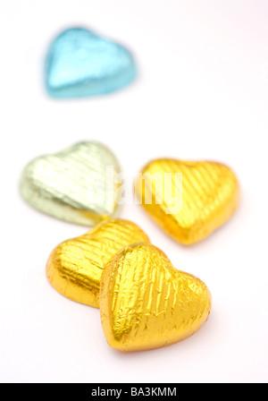 Chocolats en forme de coeur Banque D'Images