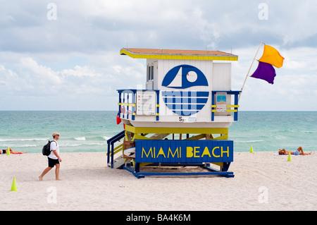 Maison de sauveteur sur Miami Beach Banque D'Images