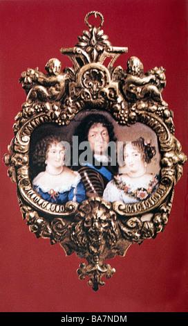 Louis XIV, 5.9.1638 - 1.9.1715, roi de France 1643 - 1715, portrait, avec ses maîtresses Louise de la Vallière et Banque D'Images