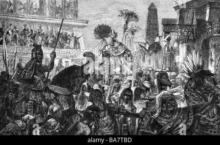 Monde ancien, Babylone, triomphe du roi Nebucadrezzar II (vers 640 - 562 av. J.-C.), gravure sur bois, XIXe siècle, Banque D'Images