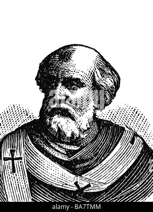 Eugene II, + 27.8.827, pape 824 mai - 27.8.827, portrait, gravure en bois, vers 1900, Banque D'Images