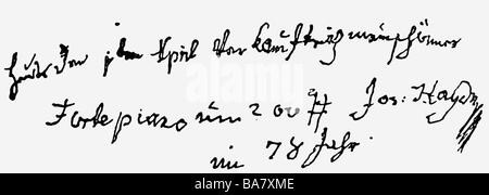 Haydn, Joseph, 31.3.1732 - 31.5.1809, compositeur autrichien, écriture manuscrite, dernière note dans un calendrier Banque D'Images
