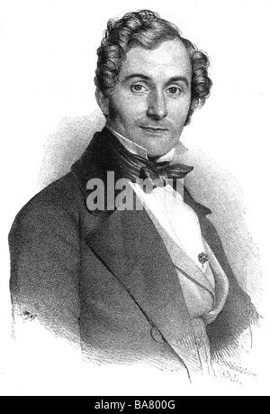 Lortzing, Albert, 23.10.1801 - 21.01.1851, compositeur allemand, portrait, gravure sur bois, XIXe siècle, Banque D'Images