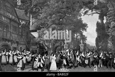 Albert Lortzing,, 23.10.1801 - 21.01.1851, compositeur allemand, travaille, scène finale du premier acte, l'enlèvement Banque D'Images