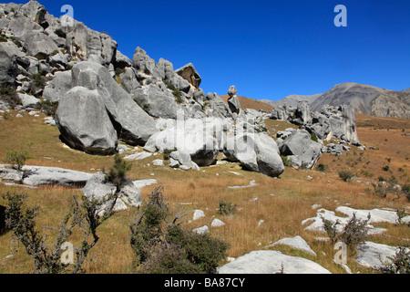 Les roches de Castle Hill, Castle Hill, Canterbury, île du Sud, Nouvelle-Zélande Banque D'Images