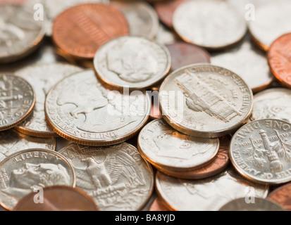 Close up of pile de pièces Banque D'Images