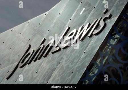 L'étonnante nouvelle de l'architecture moderne à la façade de verre en magasin John Lewis du centre commercial Highcross Banque D'Images