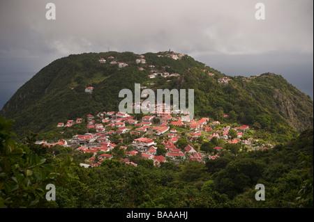 Windwardside la deuxième plus grande colonie sur l'île de Saba dans les Antilles néerlandaises Banque D'Images