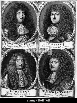 Louis XIV, 5.9.1638 - 1.9.1715, Roi de France 1643 - 1715, portrait, tableau, avec son frère Philippe, son fils Banque D'Images