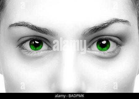 Un contraste élevé noir blanc close up of a womans yeux de couleur verte Banque D'Images
