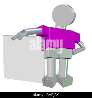 3D d'un personnage humanoïde tenant un verre vide Conseil Banque D'Images