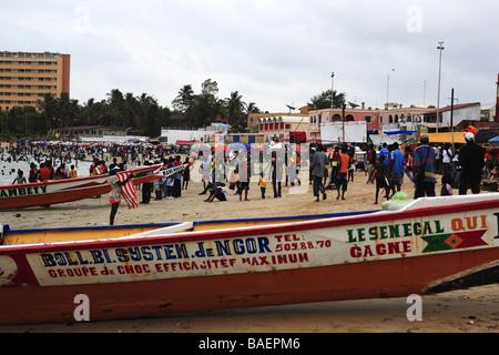 Plage de Yoff, Dakar, République du Sénégal, l'Afrique Banque D'Images