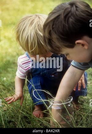 Jeune garçon et fille à la recherche de têtards ou tiddlers dans un pot de confiture Banque D'Images