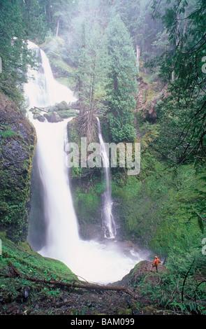 Randonneur par cascade de falls creek
